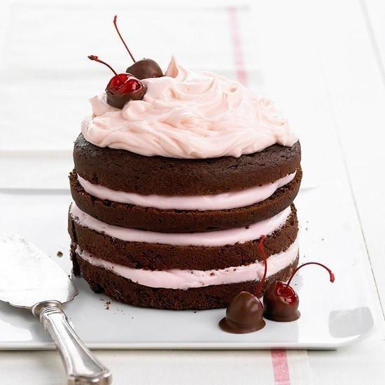 CHOCOLATE CHERRY STACK CAKE -