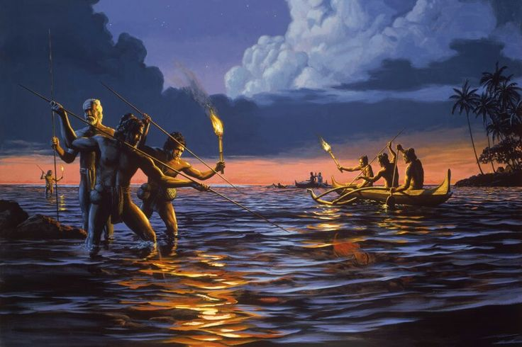 Night Fishing in Old Hawai'i, painting by Herb Kawainui Kāne.