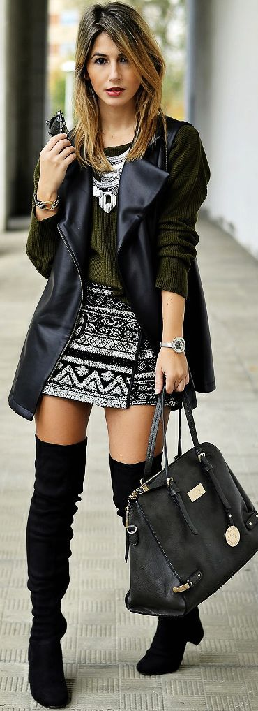 I can't get into the over-the-knee boot and the skirt is a bit short for my taste, but the vest, top (including the color), print of the skirt are all on point.