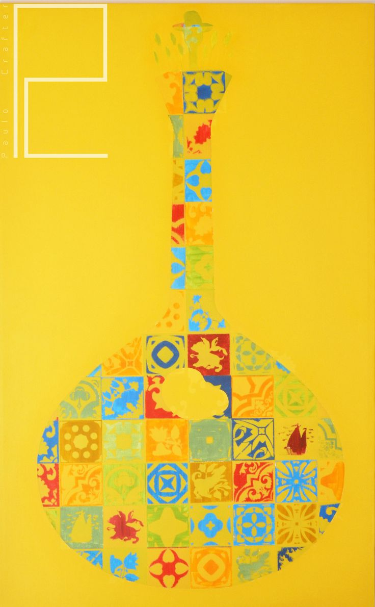 "Painting "" Poptugal series – Guitarra Portuguesa "" by Paulo Crafter Mixed media, stencil and acrylic on canvas. 90x145 cm"