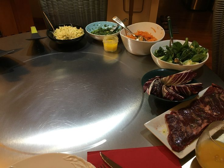 What's cooking this Wednesday? Some steak, potatoes and veggies, that's what! A hearty, delicious and healthy dinner on our Cook-N-Dine Teppanyaki table, always a pleaser.