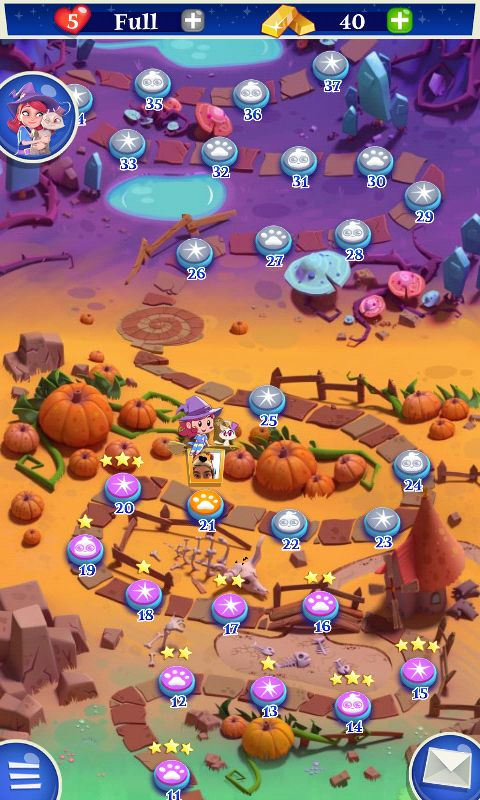 Bubble Witch 2 by King - Map Screen - Match 3 Game - iOS Game - Android Game - UI - Game Interface - Game HUD - Game Art