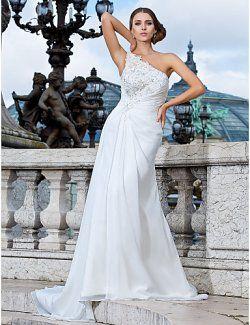 Balayage / pinceau train robe de mariée en mousseline de soie