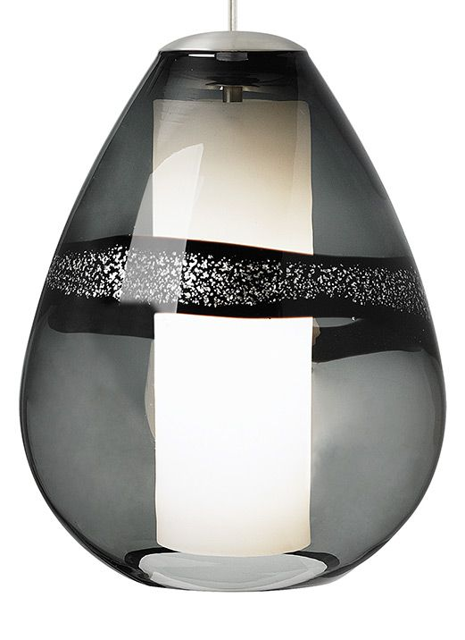 Off miyu satin nickel one light fluorescent pendant with gray glass by lbl lighting beautiful transparent teardrop shaped glass with silver leaf band