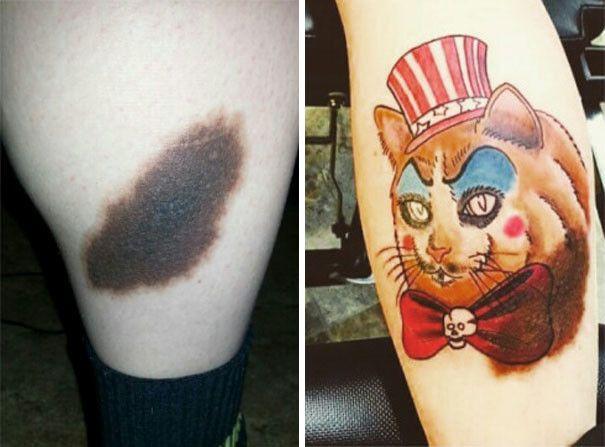 Татуировки, гениально маскирующие родимые пятна