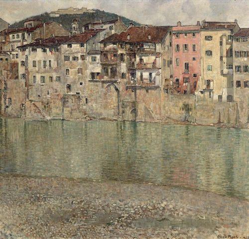 Orazio Pigato  -  Houses on the Adige in Santo Stefano (Case sull'Adige a Santo Stefano) 1923