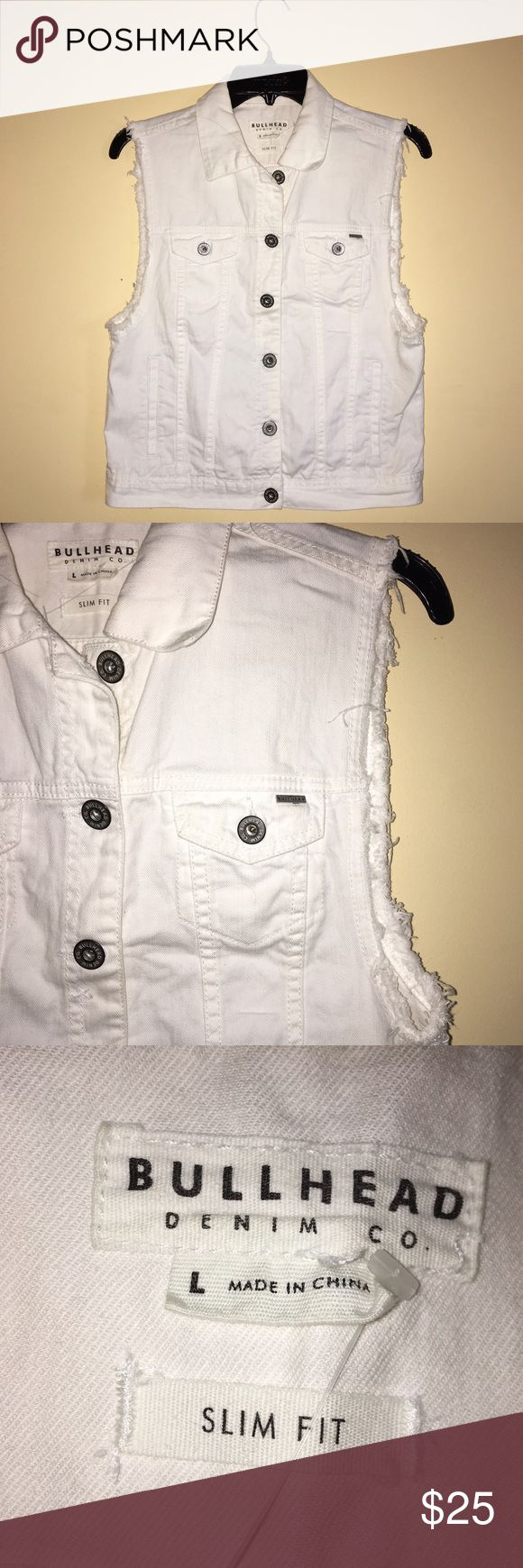 White Sleeveless Denim jacket White, sleeveless, denim jacket. Used about twice and never used again. In really great condition. Size LARGE. No PAYPAL! NO TADES! Thanks ❤️. Feel free to make any offers!! Pacsun/Bullhead Jackets & Coats Jean Jackets