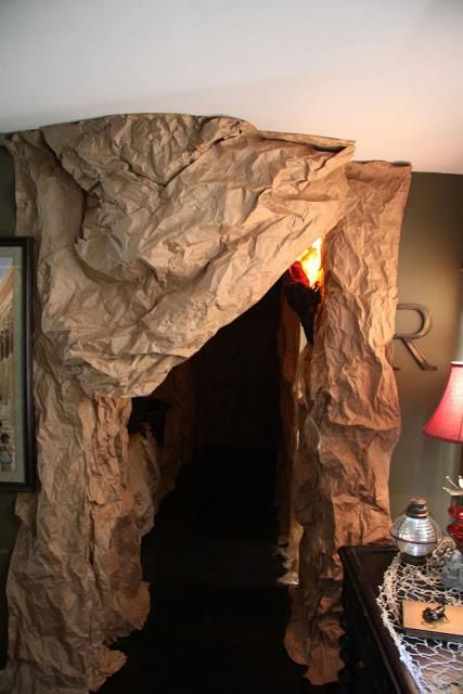 Cave entrance.  Used two 100ft rolls of brown paper from Home Depot and covered our entire hallway.