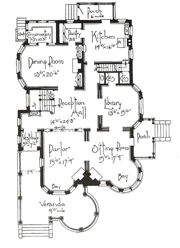 Vintage Floor Plan VIntage, nothing else needs to be said. Except maybe that the dining room is where it belongs, near the kitchen! That's back when they entertained guests in the parlor or for less formal occasions, the sitting room.