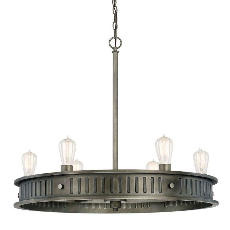 Capital Lighting 413261 Nash 6 Light 1 Tier Chandelier Gunmetal Indoor Lighting Chandeliers