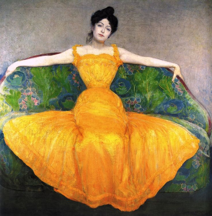 """Max Kurzweil - 1899 - Woman in a Yellow Dress  """"Kurzweilcommitted suicide in 1916 after having shot a female student who was his lover. """""""