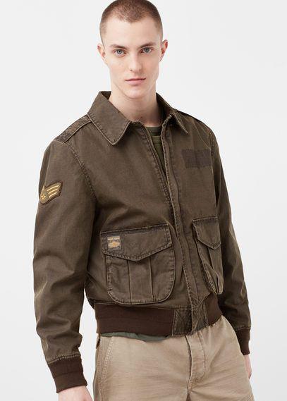 Mango Outlet Patch aviator jacket