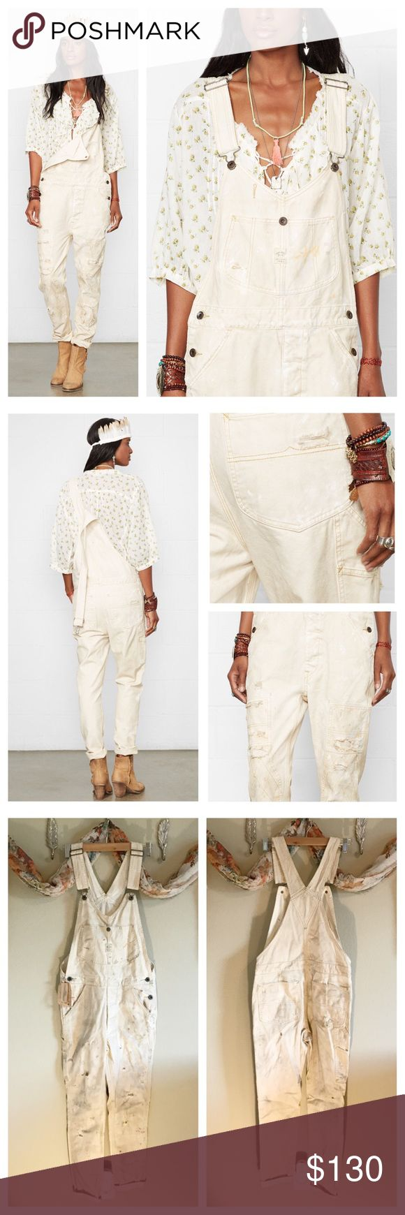 Denim & Supply Paint Splatter Overalls XS Classic painters overalls in a feminine cut, they come pre-splattered with distressing throughout. Perfect for layering and new with $298 tag! Style: Kinfolk Color: Natural Size: XS Denim & Supply Ralph Lauren Jeans Overalls