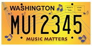Music Aid Northwest has developed a self-perpetuating fundraising proposal to help support school music programs through sales of a distinctive new license plate, available through the Washington State Department of Licensing.    These specialty license plates are now available to purchase by every vehicle owner in Washington.