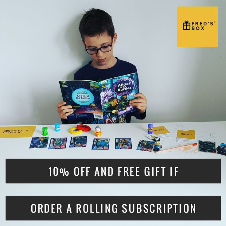 10% off a mystery subscription box plus a free gift when ordering a rolling monthly subscription from Fred's Box (the best kids subscription box in the UK)