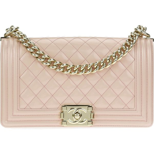 Pre-owned Chanel Light Pink Patent Leather Medium Boy Bag ($6,000) ❤ liked on Polyvore featuring bags, handbags, chanel, pink purse, pouch purse, patent handbags and patent leather purse