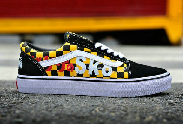 dbe8bfcdf00 Vans x Mizuki Shigeru GeGeGe No Kitaro Checkerboard Old Skool Skateboard  Yellow Black Canvas Shoe  Vans