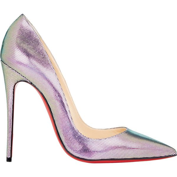 Christian Louboutin So Kate Pumps (372.625 CRC) ❤ liked on Polyvore featuring shoes, pumps, heels, louboutin, sapatos, multi, red sole pumps, pointy-toe pumps, red sole shoes and iridescent shoes