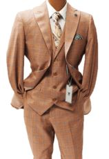 Stacy Adams Mens Rust Plaid Jett Vested 1920s Fashion Suits 5746-778 - click to enlarge