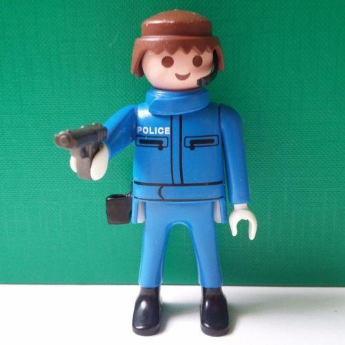 PLAYMOBIL-POLICE-Policier-Bleu-Motard-Moto-Pistolet