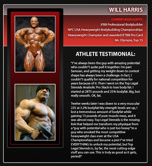 Prob Bodybuilder Will Harris after taking Top Legal Steroids