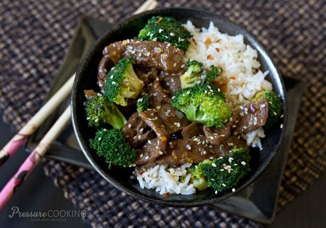 Tender, thin-sliced beef and broccoli in a rich sauce that is salty and sweet with just a little heat. Cooking beef chuck in the pressure cooker tenderizes the meat,