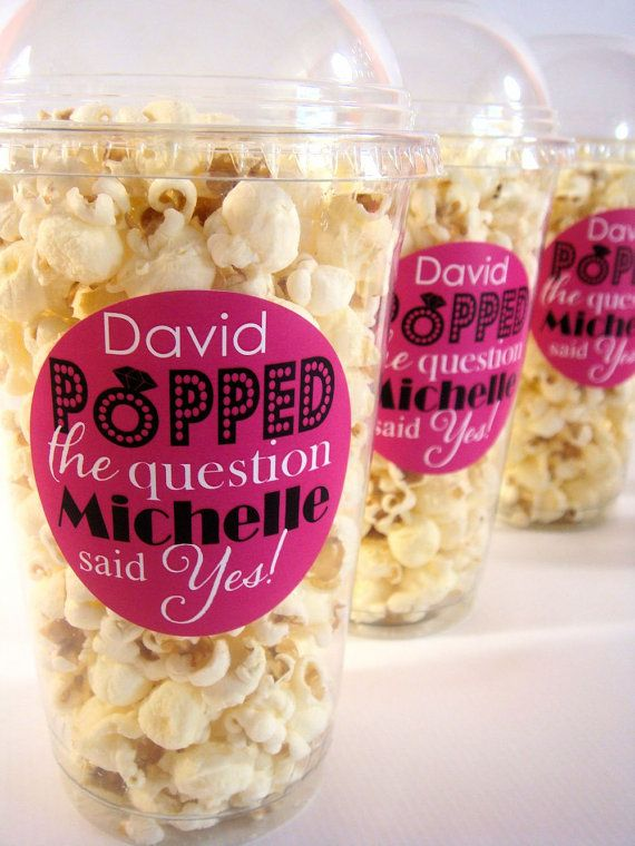 Popcorn Boxes Engagement Party Bridal Shower He by Celebr8tions. Haha I thought these would be cute if you do, do a popcorn bar at the reception:)