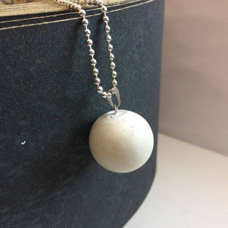 Beton, CONCRETE handmade necklace White MOON, minimalistic industrial pendant handmade by Aludana, gift for her, for him, Charm jewelry by ConcreteByAludana on Etsy