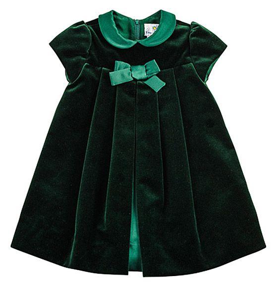 Welurowe cudeńko! / Florence Eiseman Baby Girls Emerald Green Velvet Christmas Dress