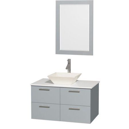 Wyndham Collection Amare 36 inch Single Bathroom Vanity, Dove Grey, White Man-Made Stone Countertop, Pyra Bone Porcelain Sink and 24 inch Mirror