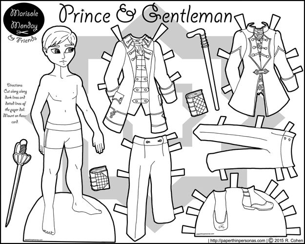 A Printable Coloring Page Of Prince Paper Doll Inspired By The 18th Century Theres