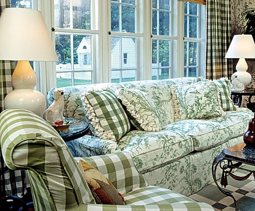 Pinterest Decorating With Toile: Toile & Check In Sunroom