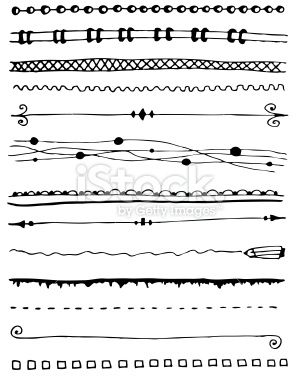 Hand-drawn line border set Royalty Free Stock Vector Art Illustration