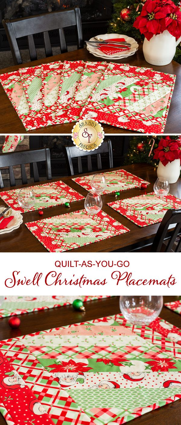 Quilt As You Go Jakarta Placemats Swell Christmas In 2020 Christmas Placemats Christmas Sewing Projects Swell Christmas