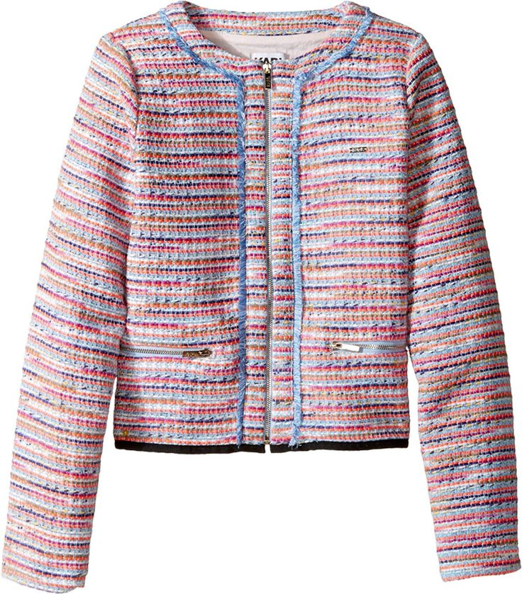 Karl Lagerfeld Kids Womens Tweed Jacket w/ Fringe and Black Trim (Big Kids)   Promote a playful wardrobe for your little one with the Karl Lagerfeld™ tweed jacket. Crew Read  more http://shopkids.ca/karl-lagerfeld-kids-womens-tweed-jacket-w-fringe-and-black-trim-big-kids/