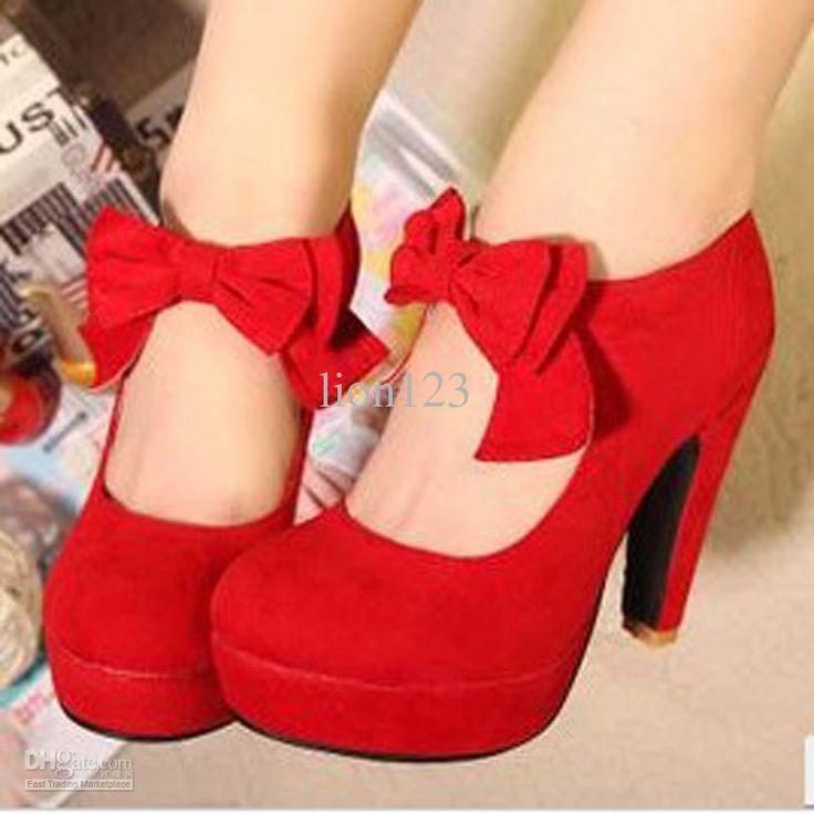 Wholesale Dress Shoes - Buy 2013 Red Wedding Shoes Female High-heeled Thick Heel Platform Bow Round Toe Fashion Velvet Shoes, $37.48 | DHgat...