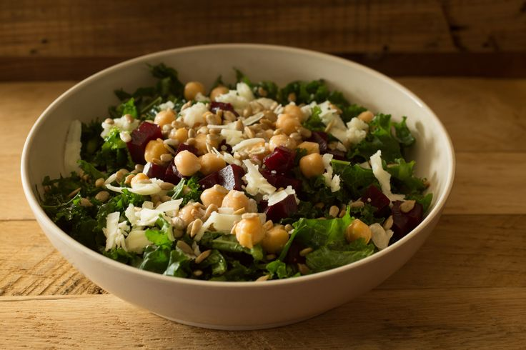 the Harvest Kale salad from b.good - marinated kale, brussels sprouts, manchego cheese, sunflower seeds, beets, garbanzos, with sherry vinaigrette