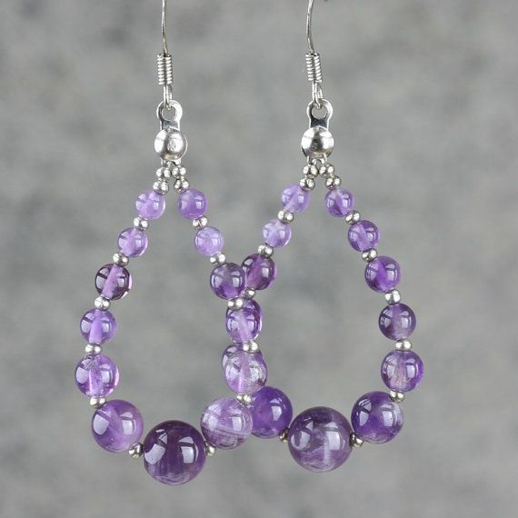Amethyst tear drop loop hoop earrings handmade ani designs
