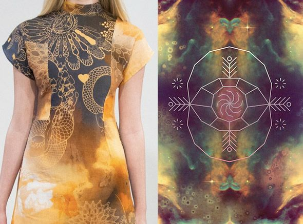 outerspace backgrounds plus shamanic line drawings on Jena Theo's spring 2013 collection.