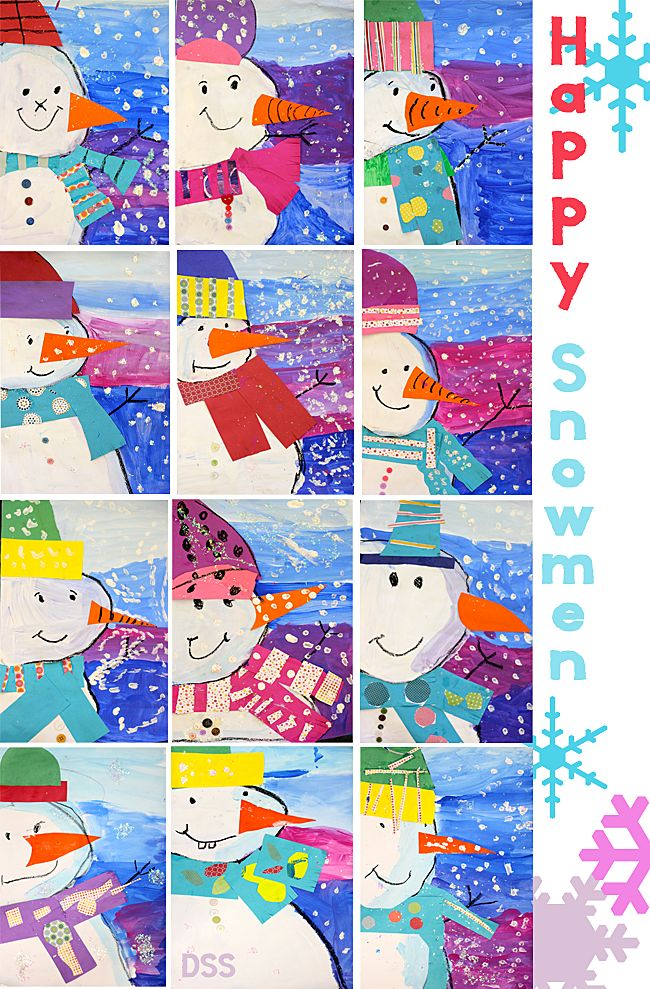 Snowman collage-a fun winter art project that works on some key concepts for young artists.