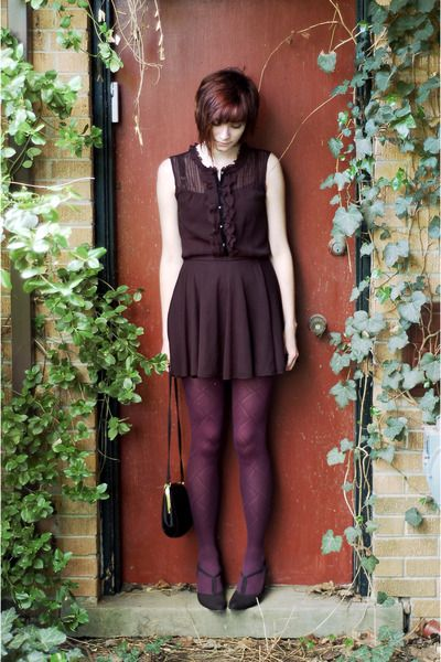 Plum dress with black tights and brown