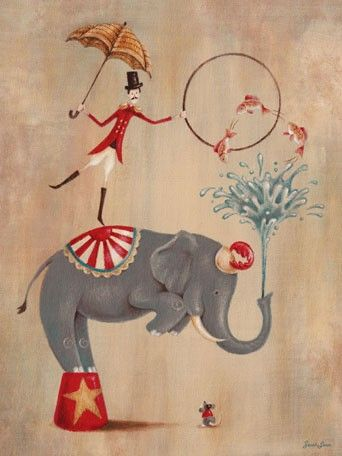 """Fill your little one's room with this adorable Vintage Circus Theme by Sarah Lowe! Right now, save 20% on orders over $150 + FREE shipping through Friday. """"Vintage Circus Elephant"""" in sizes 10x14 and 18x24 (Click here for her entire Vintage Circus Grouping from Oopsy Daisy, Fine Art for Kids http://www.oopsydaisy.com/store/shop.html?artist=456=23)"""