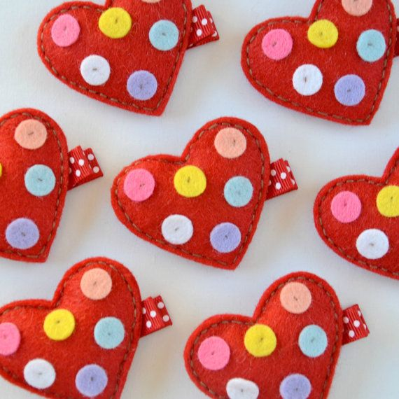 Red Heart with Spots Felt Hair Clippie - Super cute for every day - Valentine's Day Clips on Etsy, $3.50