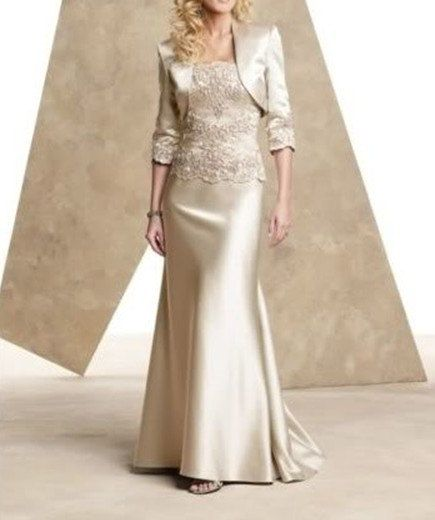 Champagne satin mother of the bride dresses floor length evening dress jacket on Etsy, $139.00