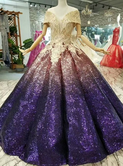715cf2b40c Silhouette ball gown Hemline floor length Neckline off the shoulder  Fabric sequins Shown Color purple Sleeve Style sleeveless Back Style lace  up ...