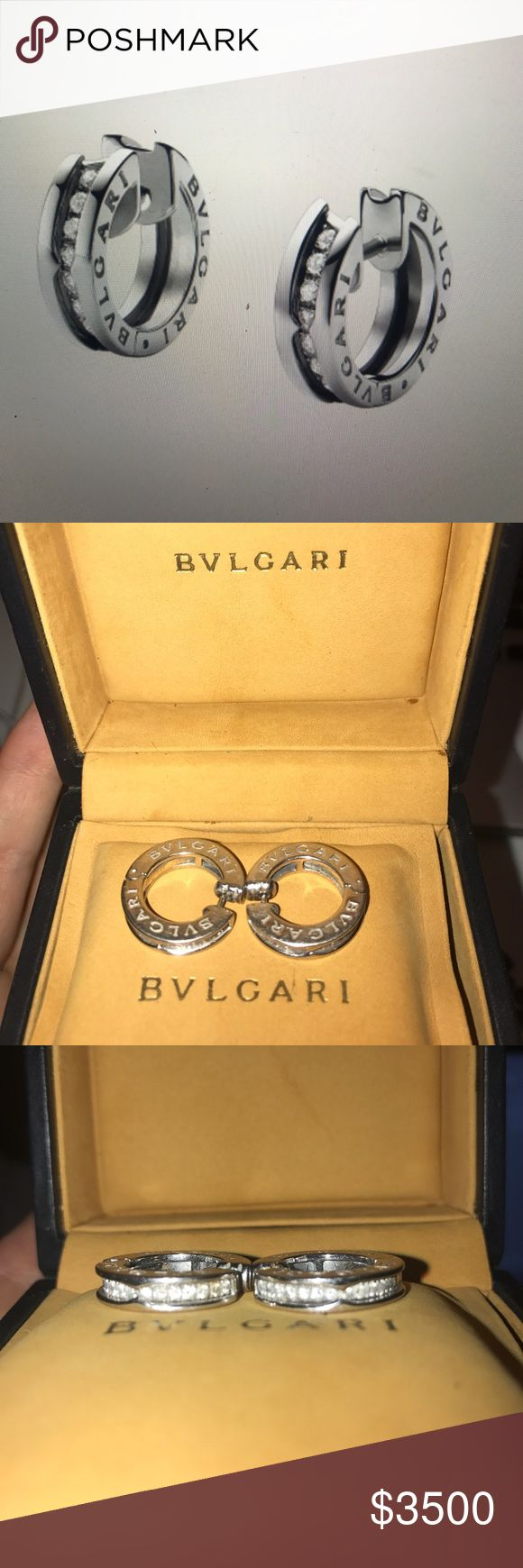 Bulgari B.ZERO1 Bulgari B.ZERO1 small 18kt white gold pavé diamond hoop earrings. I bought them in Europe with 20% tax, here they cost 3,950+tax = $4300. In selling them because I want the new ones. Bulgari Jewelry Earrings