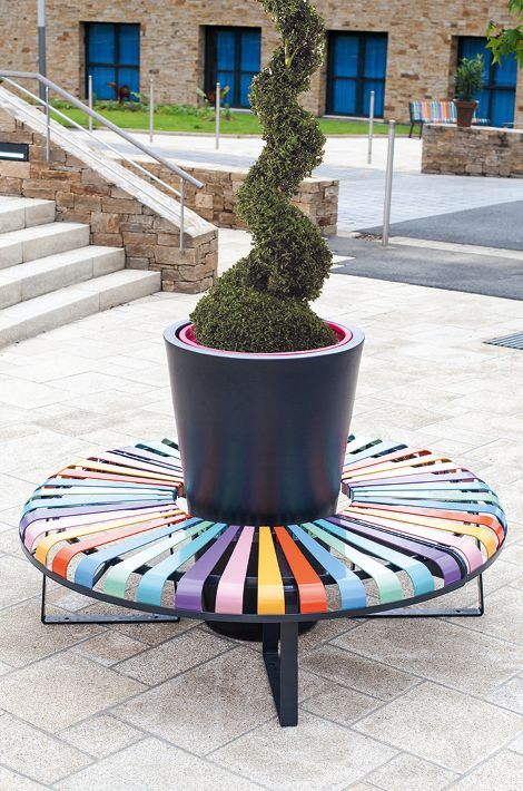 Colorful Bench With Flower Pot   Atech
