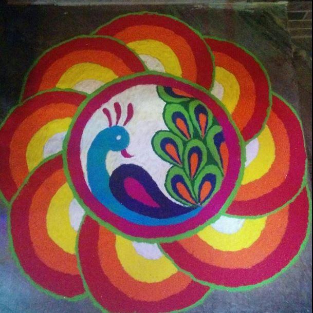 Peacock Diwali Rangoli Design                                                                                                                                                                                 More