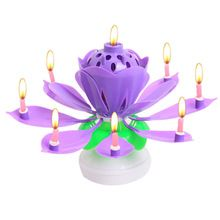 US $2.52 Flower Christmas Birthday Decorative Candles Amazing Romantic Musical Lotus Rotating Happy Birthday Candles For Cake LT549. Aliexpress product