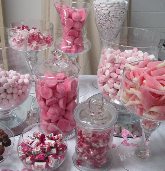 this is happeneing at my wedding pink white and silver candy bar already